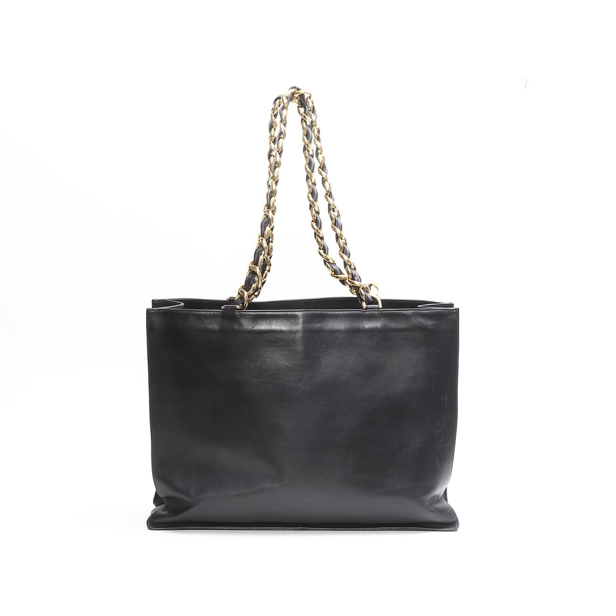 0b3f2297e8ca BRANDOFF  (Free shipping) Auth CHANEL Chain Tote Bag leather Black ...