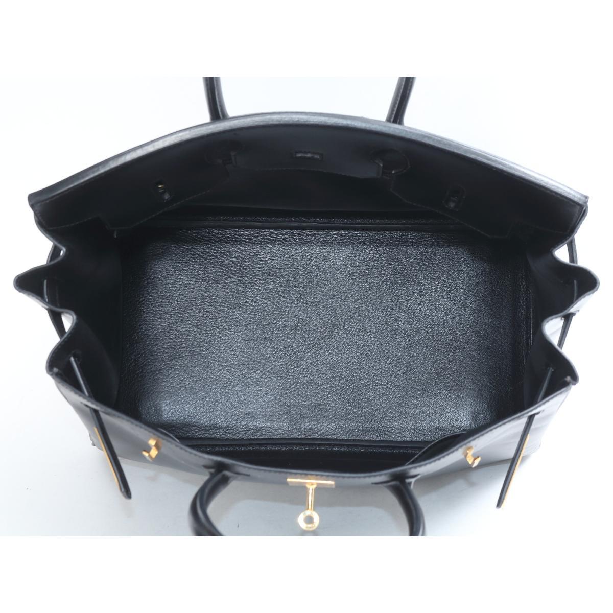 b39c9c281f1 (Free shipping) Auth HERMES Birkin 35 Hand Tote Bag Box Calf Leather Black  x GHW Used