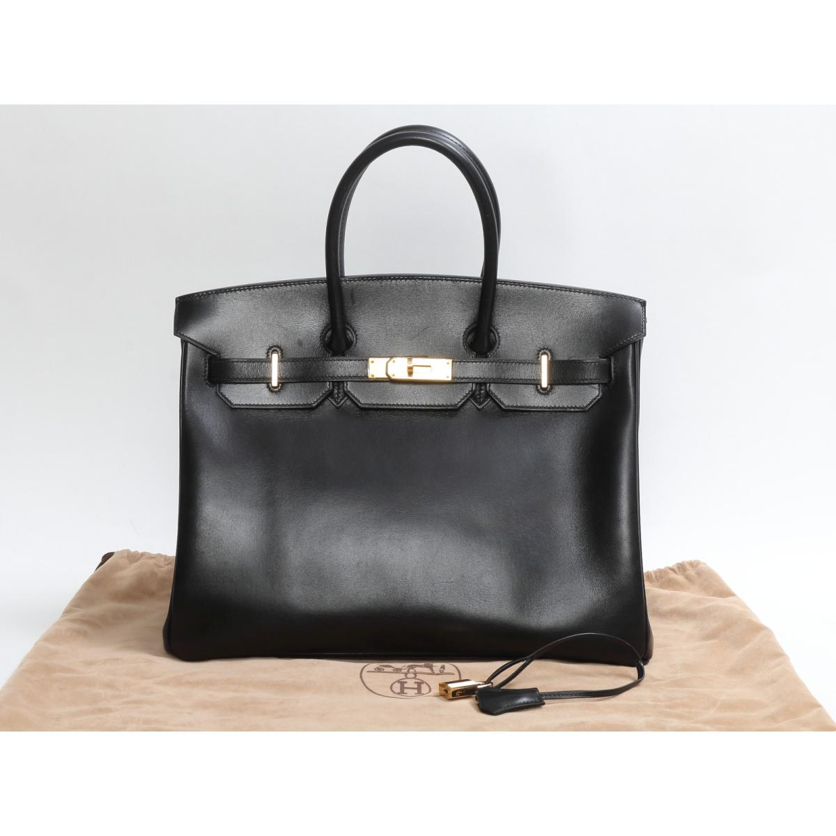 79ae77f156 (Free shipping) Auth HERMES Birkin 35 Hand Tote Bag Box Calf Leather Black  x GHW Used
