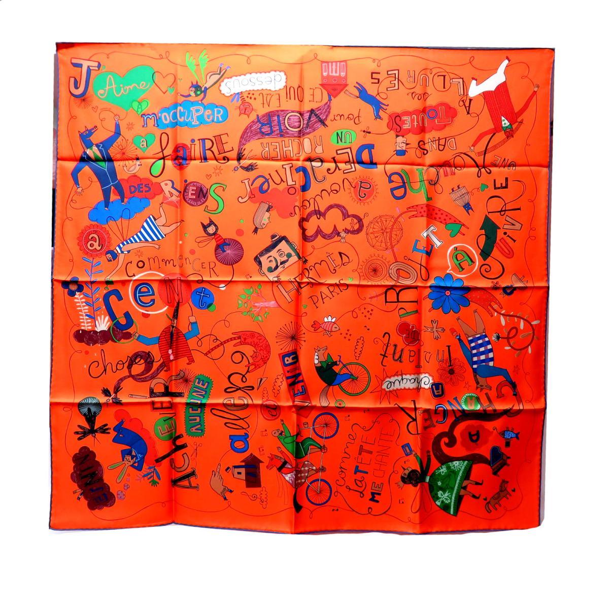 【中古】 エルメス カレ90 自転車 スカーフ 衣料品 レディース シルク ORANJGE/BLEU/VERT | HERMES BRANDOFF ブランドオフ ブランド