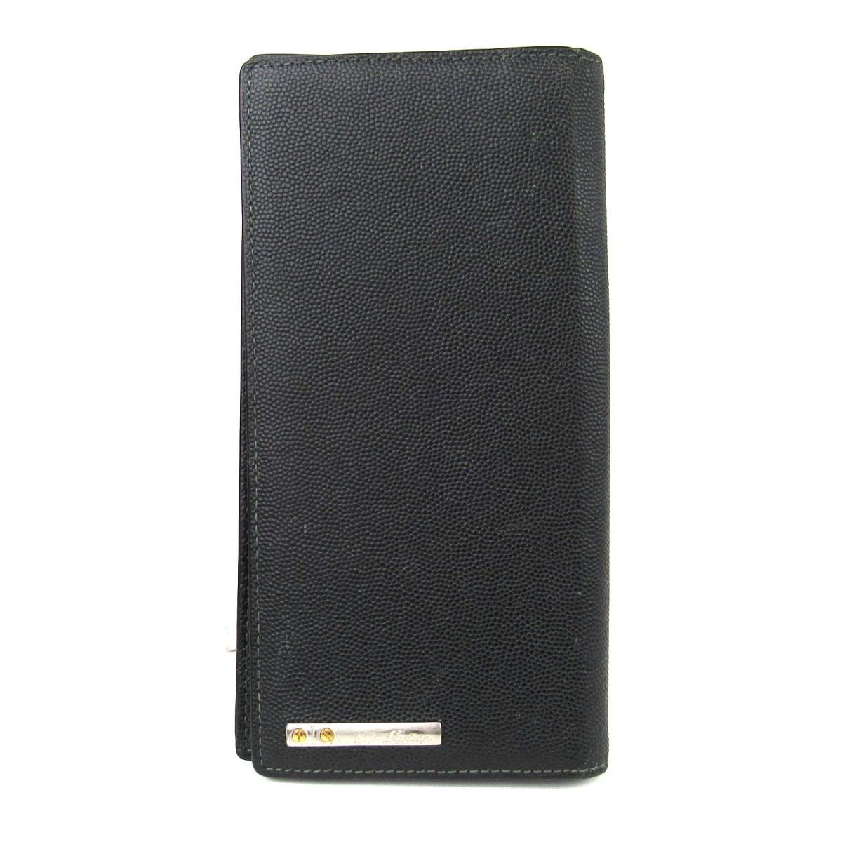 【中古】カルティエ ZIP長財布 財布 ユニセックス 型押しレザー ブラック