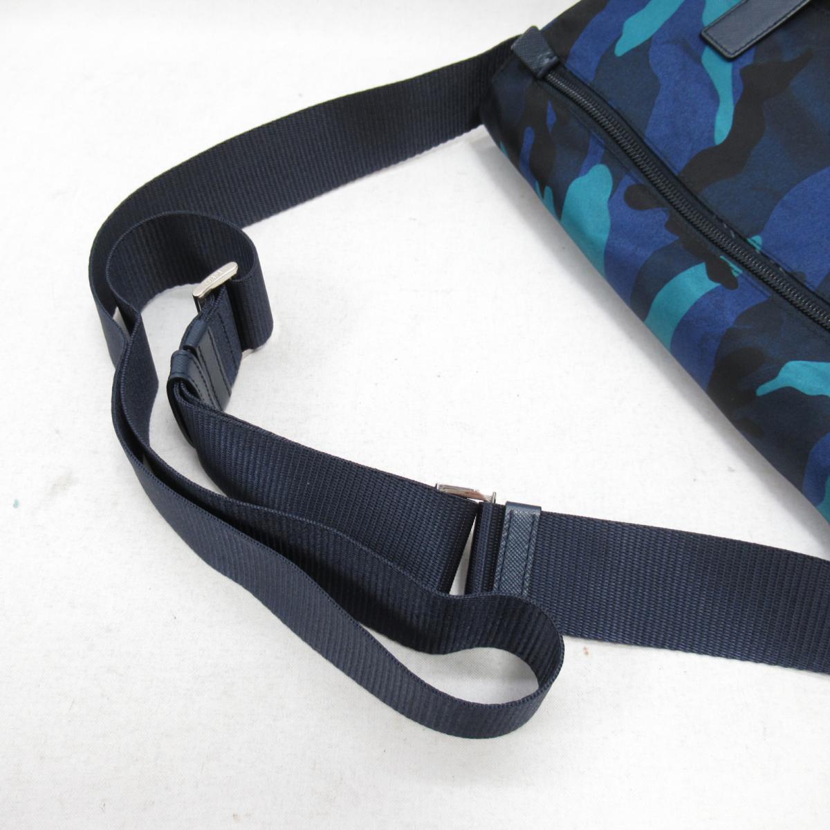 659f7d99ed01 BRANDOFF  Authentic PRADA Camouflage Shoulder Bag Nylon Blue ...