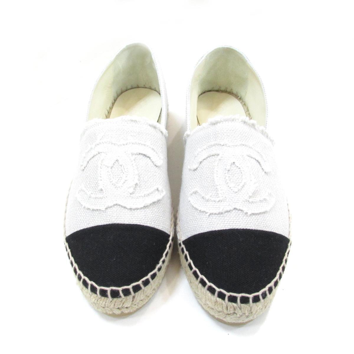 Prix usine 2019 classique chic plus grand choix Chanel espadrille or other lady's canvas white X black | CHANEL BRANDOFF  brand off-brand shoes shoes shoes slip-ons
