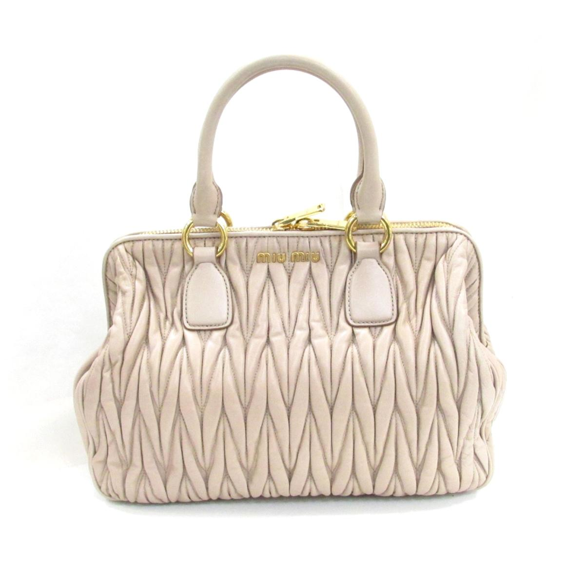 Authentic miu miu 2way Shoulder HandBag Lambskin Leather Pink Beige (RLN061) 786c28e30f468
