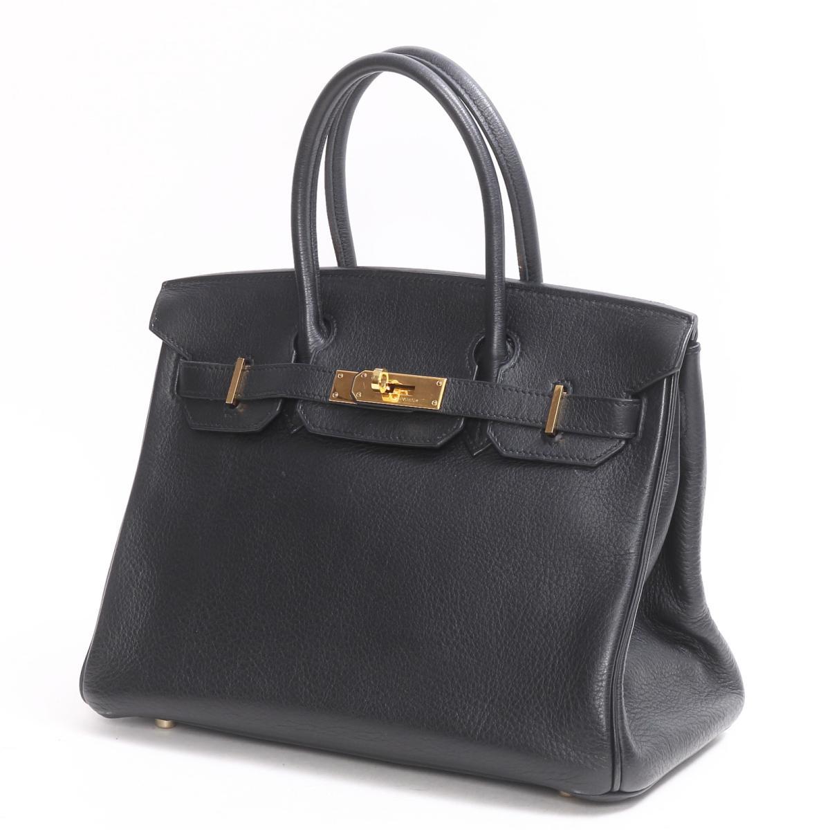 47e4e804c0 Hermes Birkin 30 handbag bag lady strike Lyon Clement s black (metal  fittings  gold)