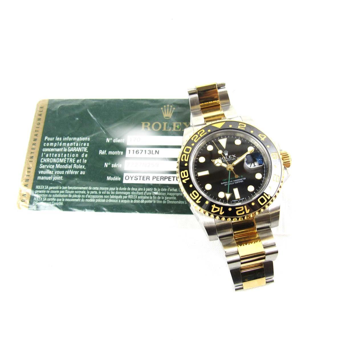Rolex Gmt Master 2 Watch Watch Men Clock Men Stainless Steel Ss X K18yg 750 Yellow Gold 116713ln