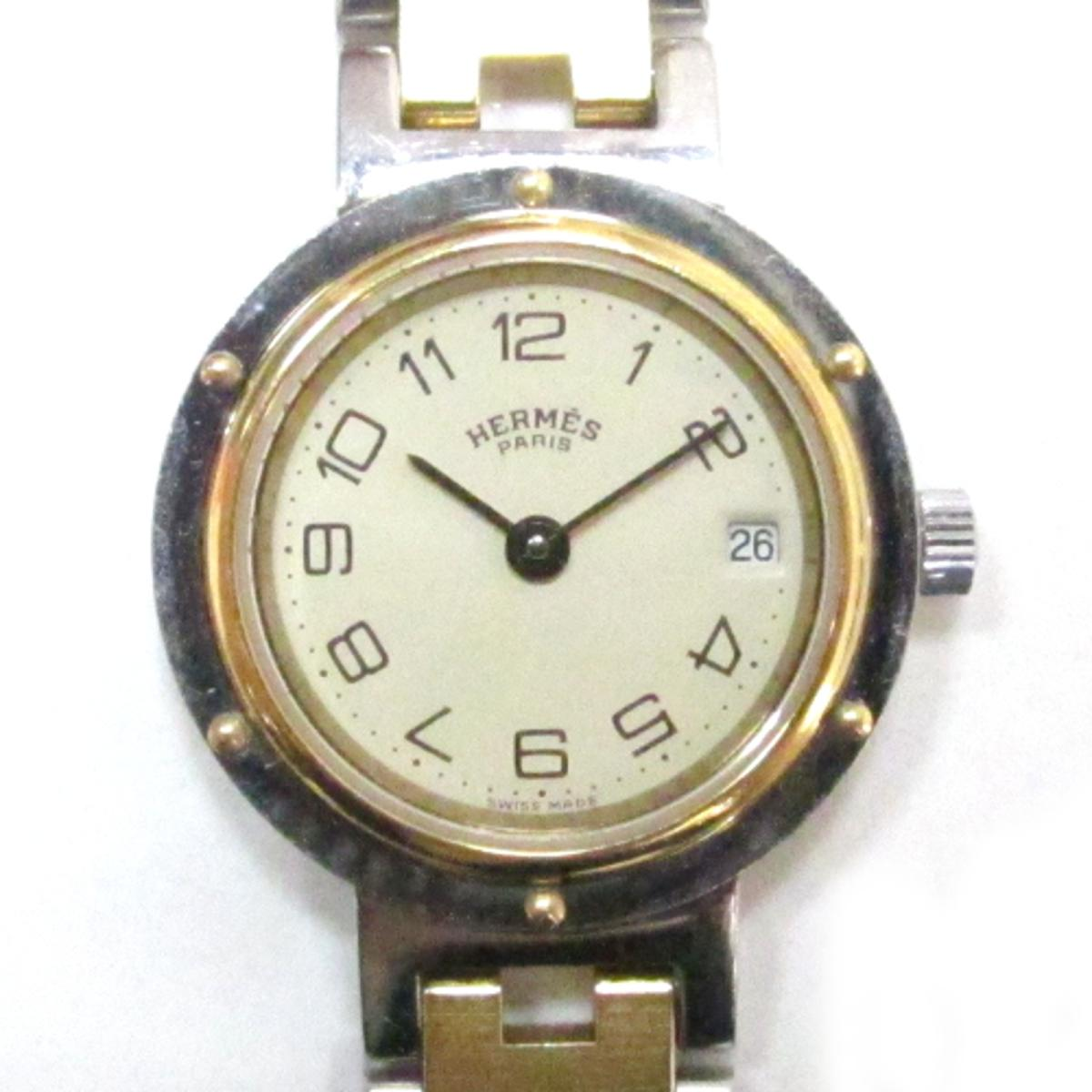 6373dac95bc3 【中古】エルメスクリッパーウォッチ腕時計時計レディースステンレススチール(SS)ゴールド×シルバー×ベージュ ROLEX 2014年コレクション新