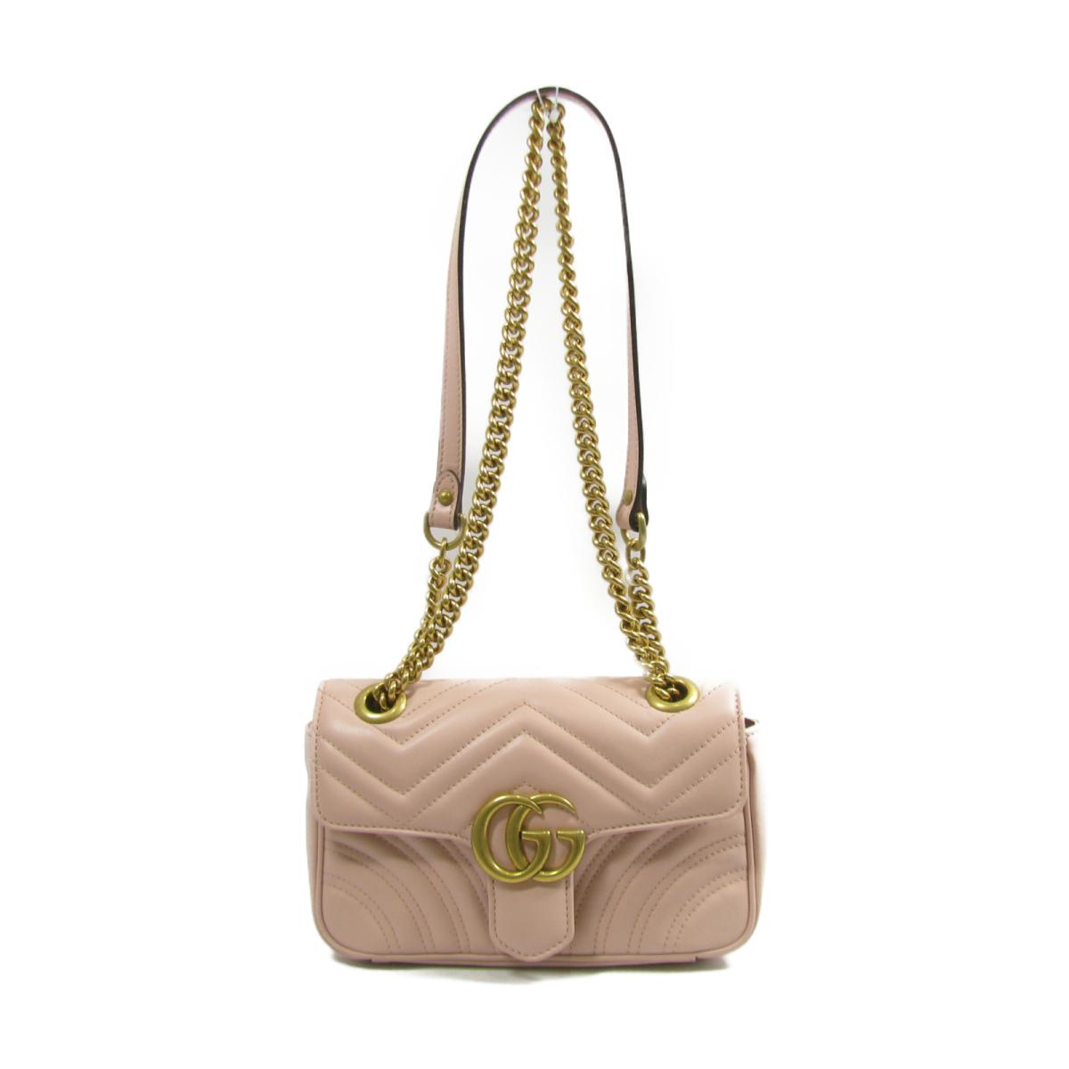 46836c9aa Auth GUCCI Mini GG Marmont Chain Shoulder Bag 446744 213048 leather Pink x  GHW | BRANDOFF ...