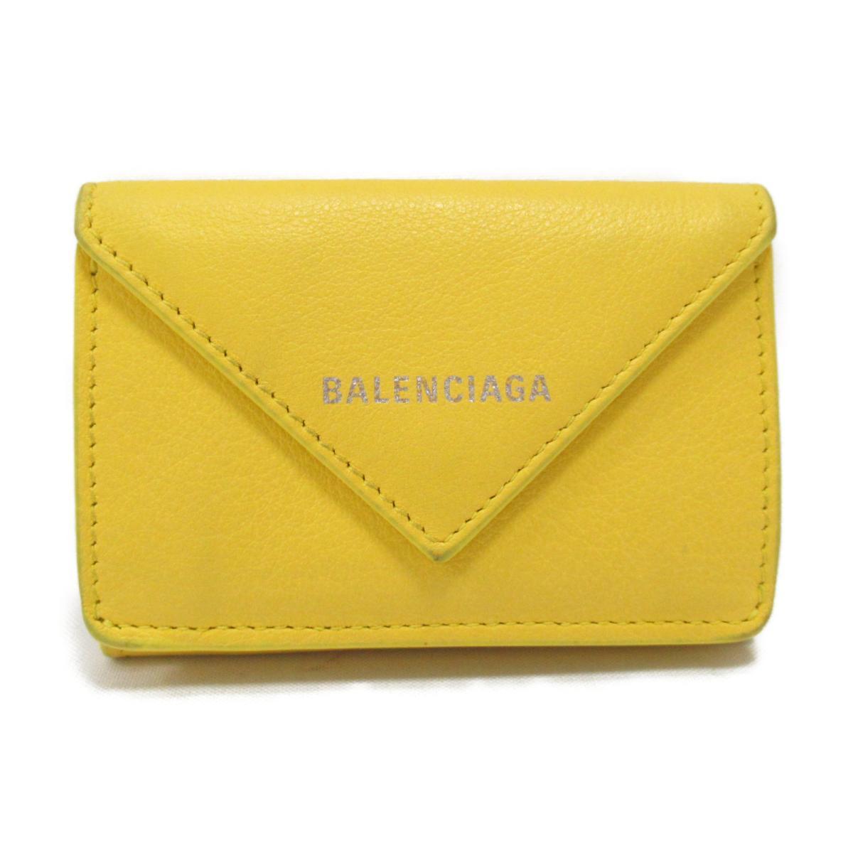 【中古】バレンシアガ ペーパーミニウォレット 三つ折財布 財布 ユニセックス レザー イエロー (391446)