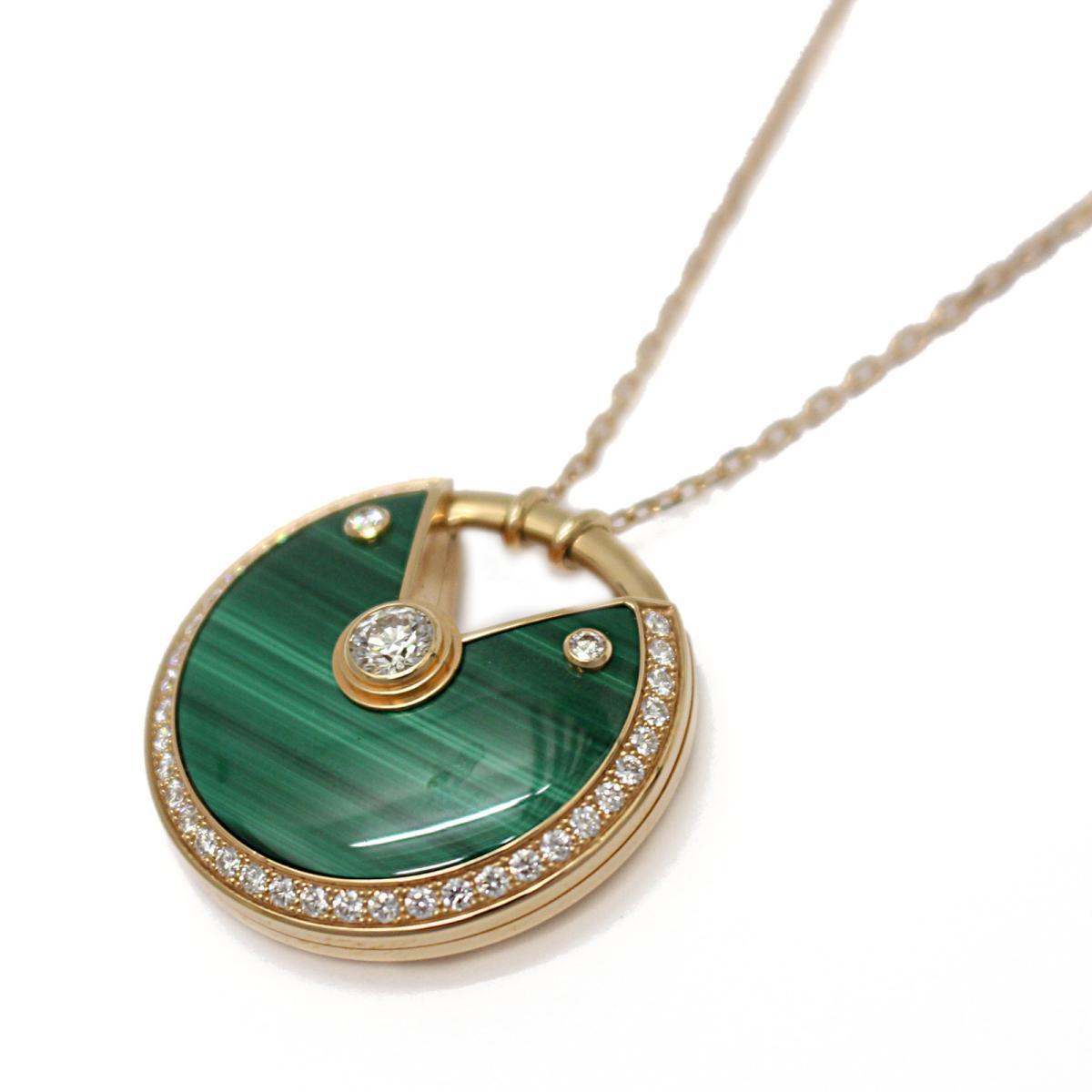 7a2437b08e506 Auth Cartier Amulet de Cartier MM necklace K18PG x malachite x diamond Used  | BRANDOFF Ginza/TOKYO/Japan