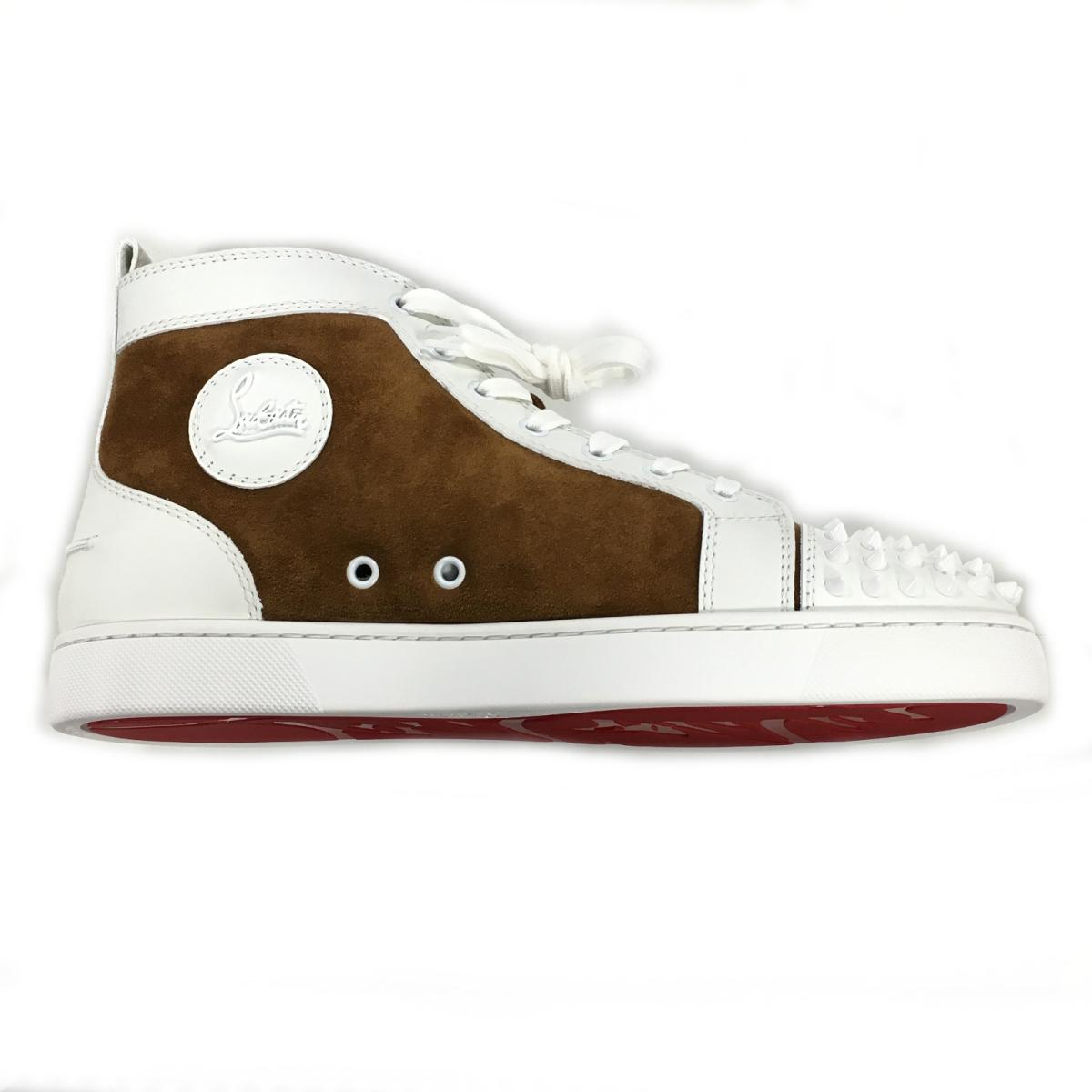 Christian ルブタンハイカットスニーカー Shoes Men And Others Leather X Suede X Rubber Brown X White 3170050 Christian Louboutin Brandoff Brand Off Brand Shoes