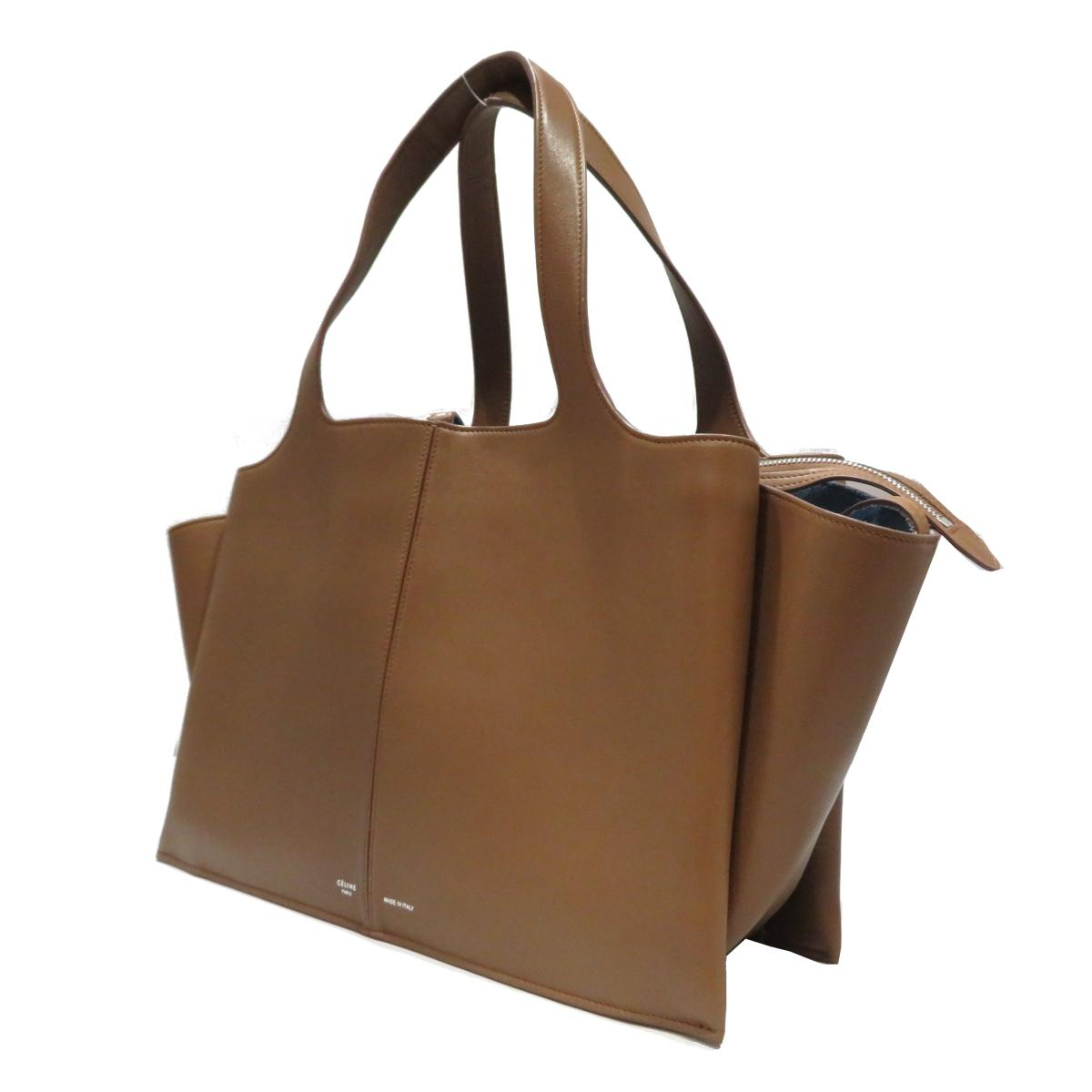 (Free shipping) Auth CELINE Tri Fold Shoulder Tote Bag leather Brown Used  Vintage  b701ccea95ebe