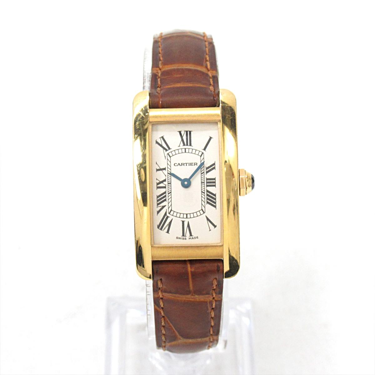 more photos 021d4 1a57e Cartier tank American SM watch watch clock Lady's K18YG' (750) yellow gold  x leather belt (W2601556) | Cartier BRANDOFF brand off-brand brand clock ...