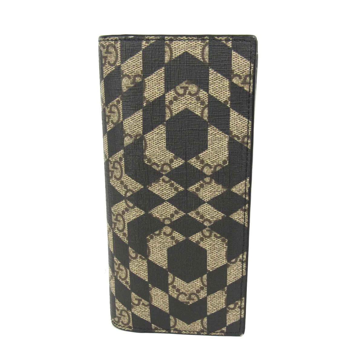 21ff13a73765 グッチ GGスプリーム 二つ折り長財布 財布 メンズ レディース コーティングキャンバス (PVC) ブラウン