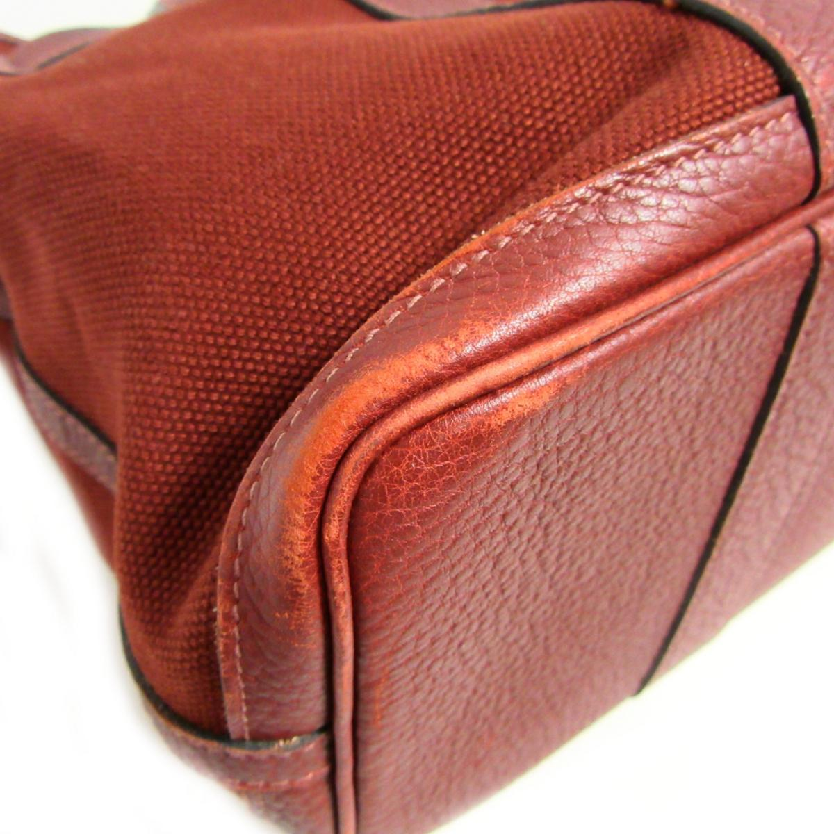 e8b2539a017 (Free shipping) Auth HERMES Sac Petite Ceinture PM hand bag Toile H Negonda  leather Rouge H Vintage