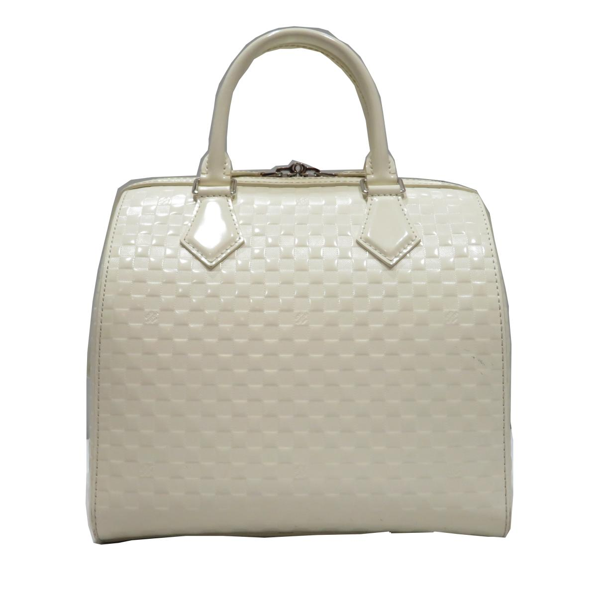f5bfec74b0a2 (Free shipping) Auth LOUIS VUITTON Speedy Cube MM Boston Bag M48904 Damier  Facette White Used