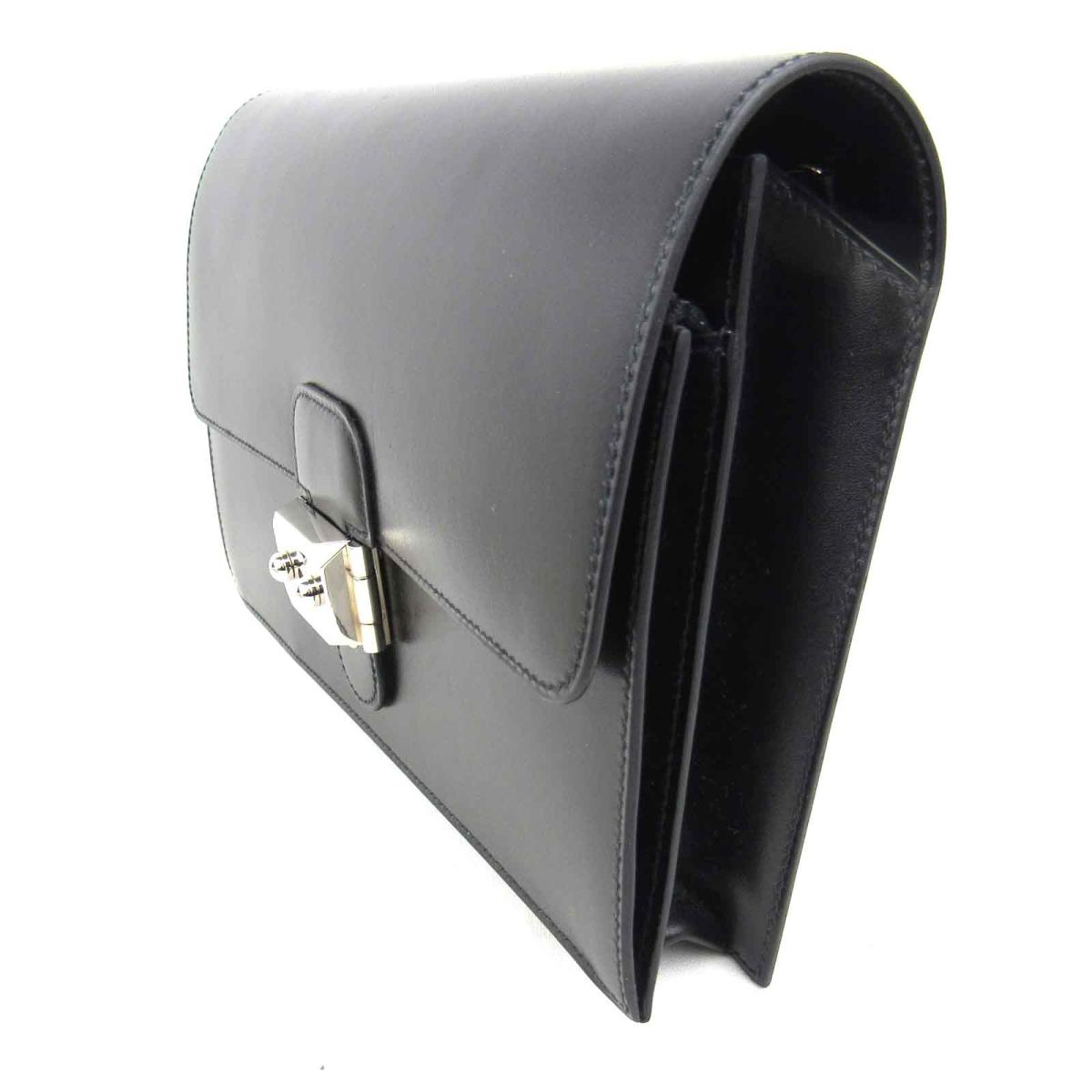 38318d4ceff8 (Free shipping) Auth HERMES Pochette Jet Second Clutch bag Box calf leather  Black SHW Used Vintage