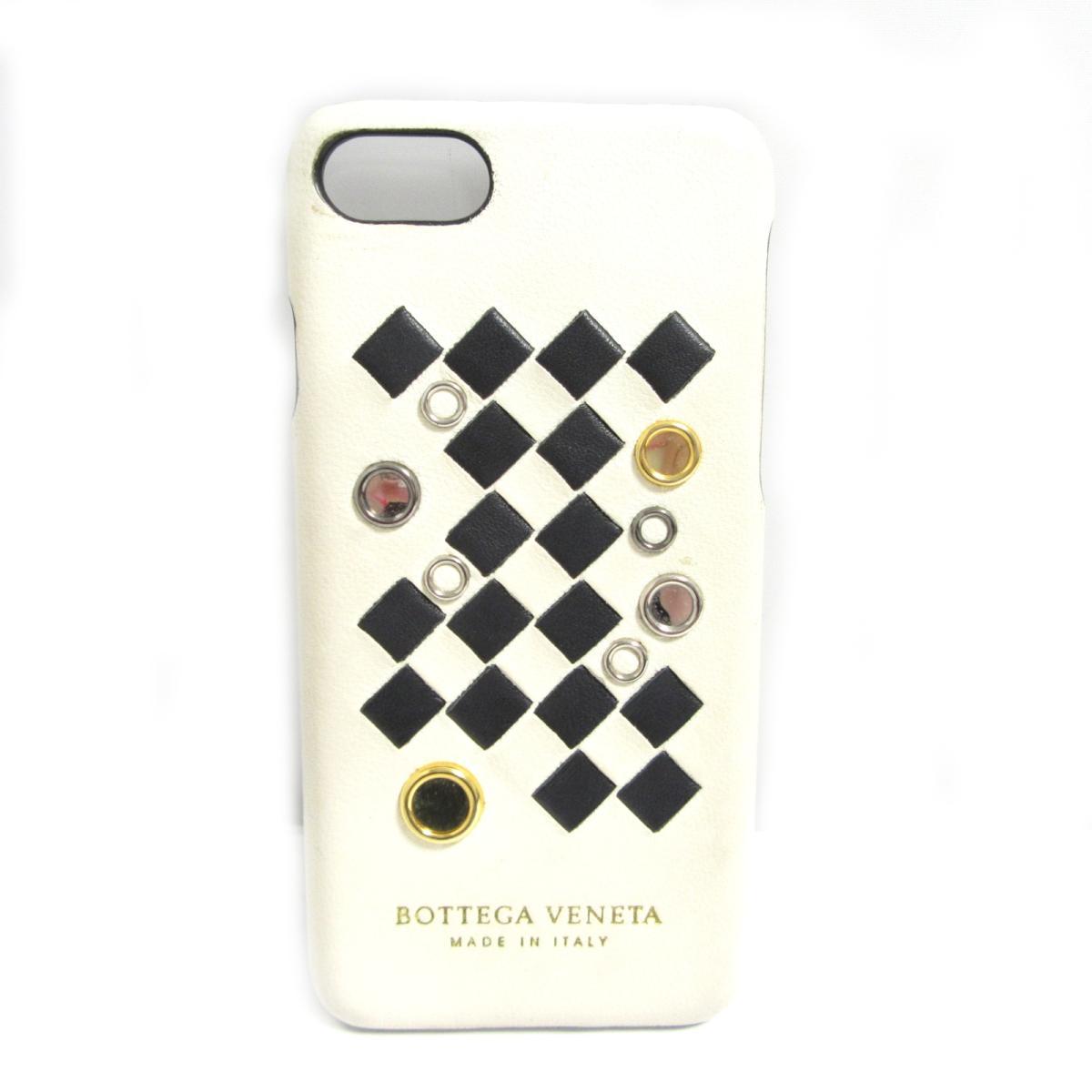 ボッテガ・ヴェネタ iPhone8ケース 携帯ケース アイフォン スマートフォン 財布 メンズ レディース レザー アイボリー × ブラック ゴールド シルバー (496541) 【中古】 | BOTTEGA VENETA BRANDOFF ブランドオフ ブランド ブランド雑貨 小物 雑貨