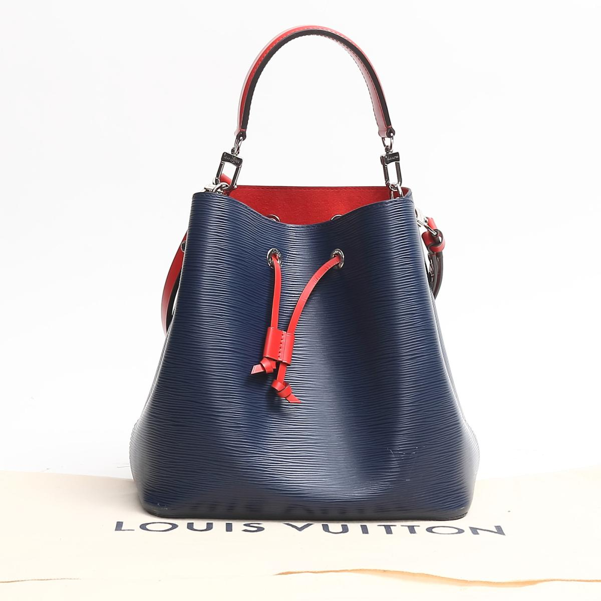 2c2eec61976f (Free shipping) Auth LOUIS VUITTON Neo Noe hand shoulder bag M54367 Epi  Indigo Blue x Red Used