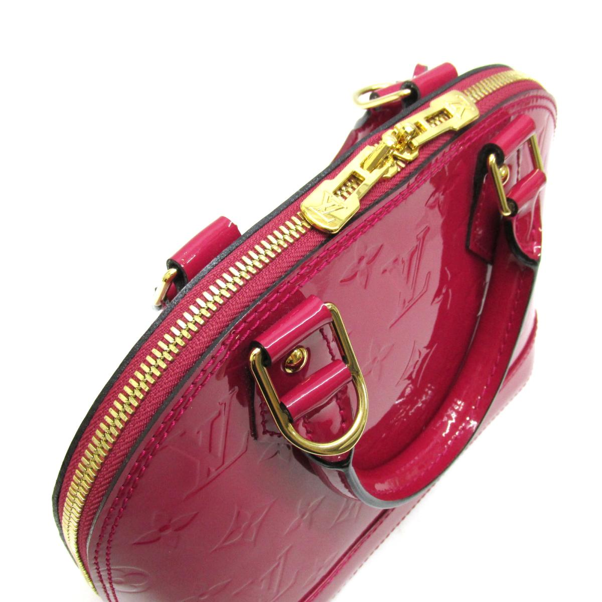 98ae34f2f102 (Free shipping) Auth LOUIS VUITTON Alma BB hand Crossbody shoulder bag  M91771 Vernis Rose Indian Used