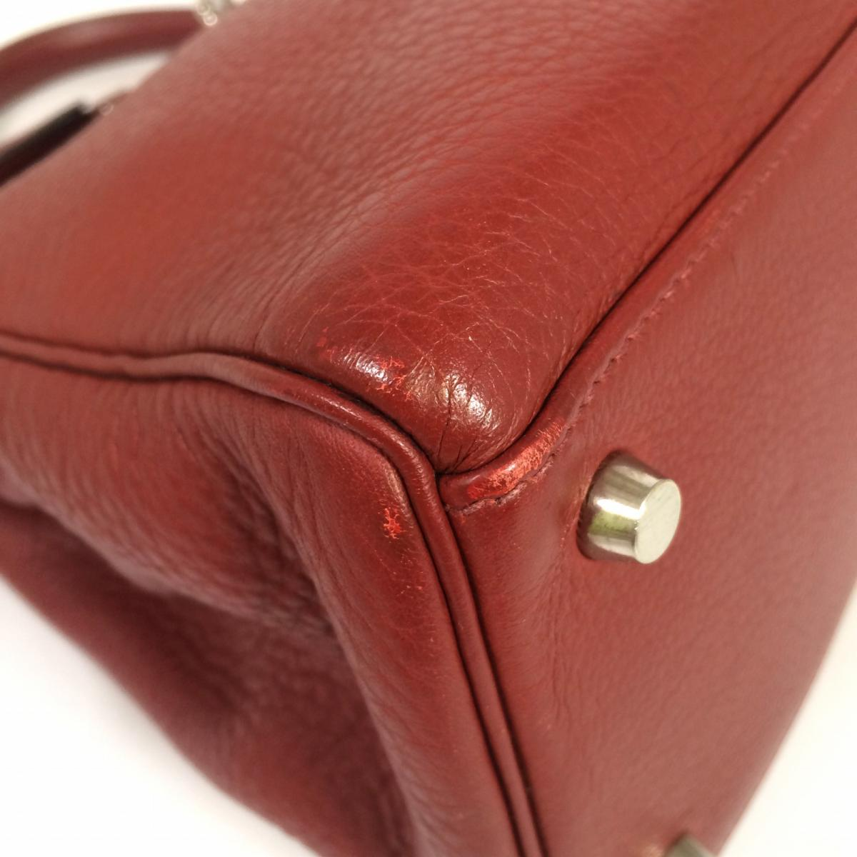 17d957da0516 (Free shipping) Auth HERMES Kelly 32 Shoulder Hand Bag Clemence Leather Rouge  H Red Palladium Hardwar