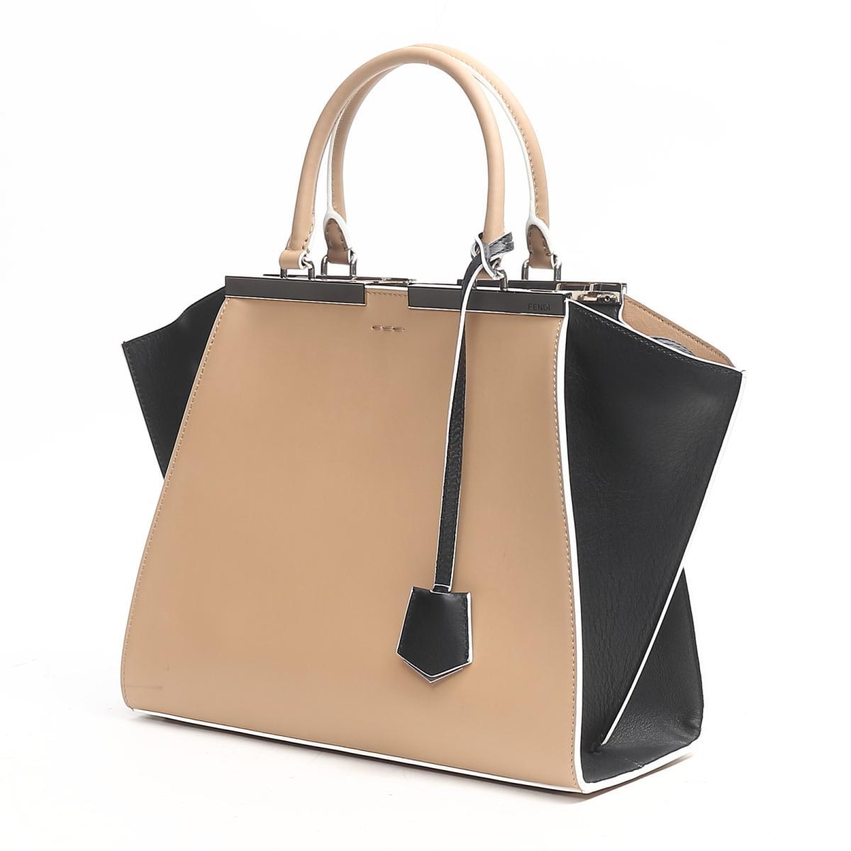 189e5dae1d BRANDOFF  Fendi Troyes Joule handbag bag lady leather beige x black ...