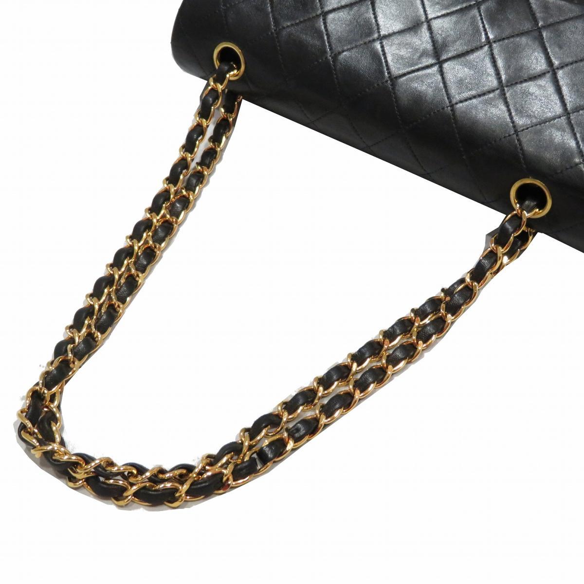 7fbc6a14092e Auth CHANEL Matelasse W flap chain shoulder bag lambskin leather Black Used  Vintage | BRANDOFF Ginza/TOKYO/Japan