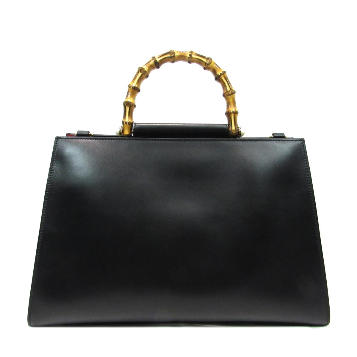4e2bd9461ef BRANDOFF  Auth GUCCI Medium Leather Top Handle Bamboo 2way Shoulder Hand  Bag leather Black Red
