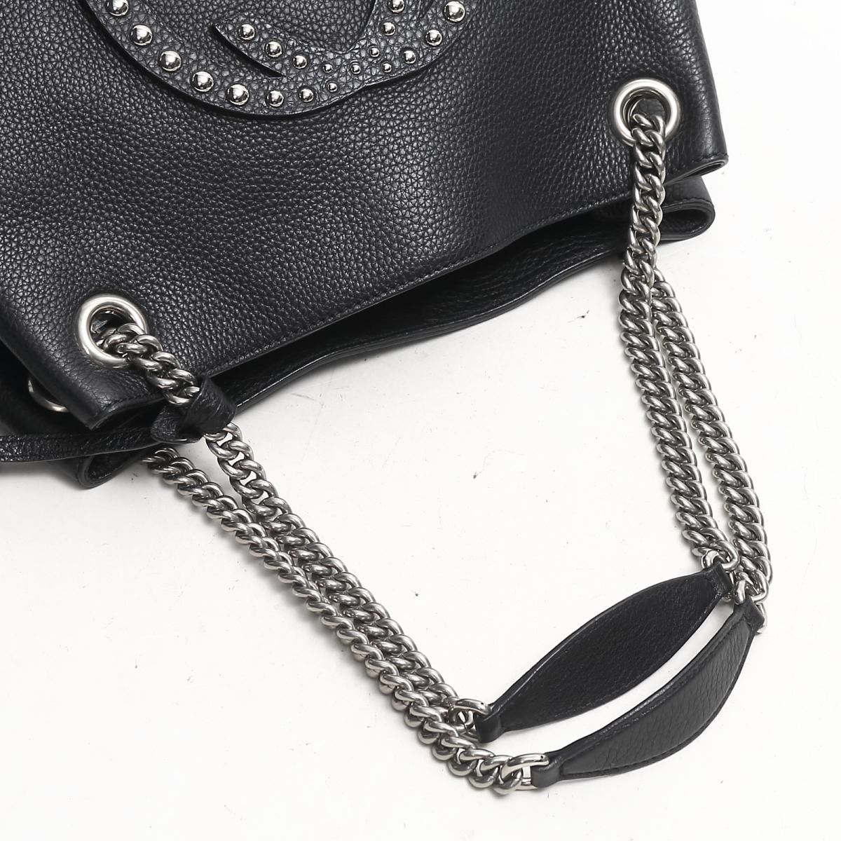 610dfb1f Gucci Soho interlocking grip G chain shoulder bag bag lady leather black  (308982)
