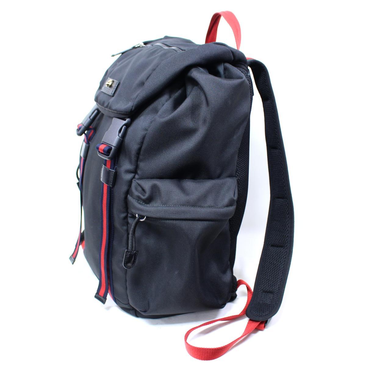 Gucci anima Rie tiger bag pack rucksack bag unisex techno canvas black X  red X Ney bi- (429037) 92169615d3c95