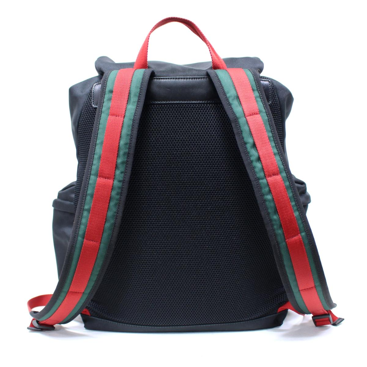 1da9133233e Gucci anima Rie tiger bag pack rucksack bag unisex techno canvas black X  red X Ney bi- (429037)