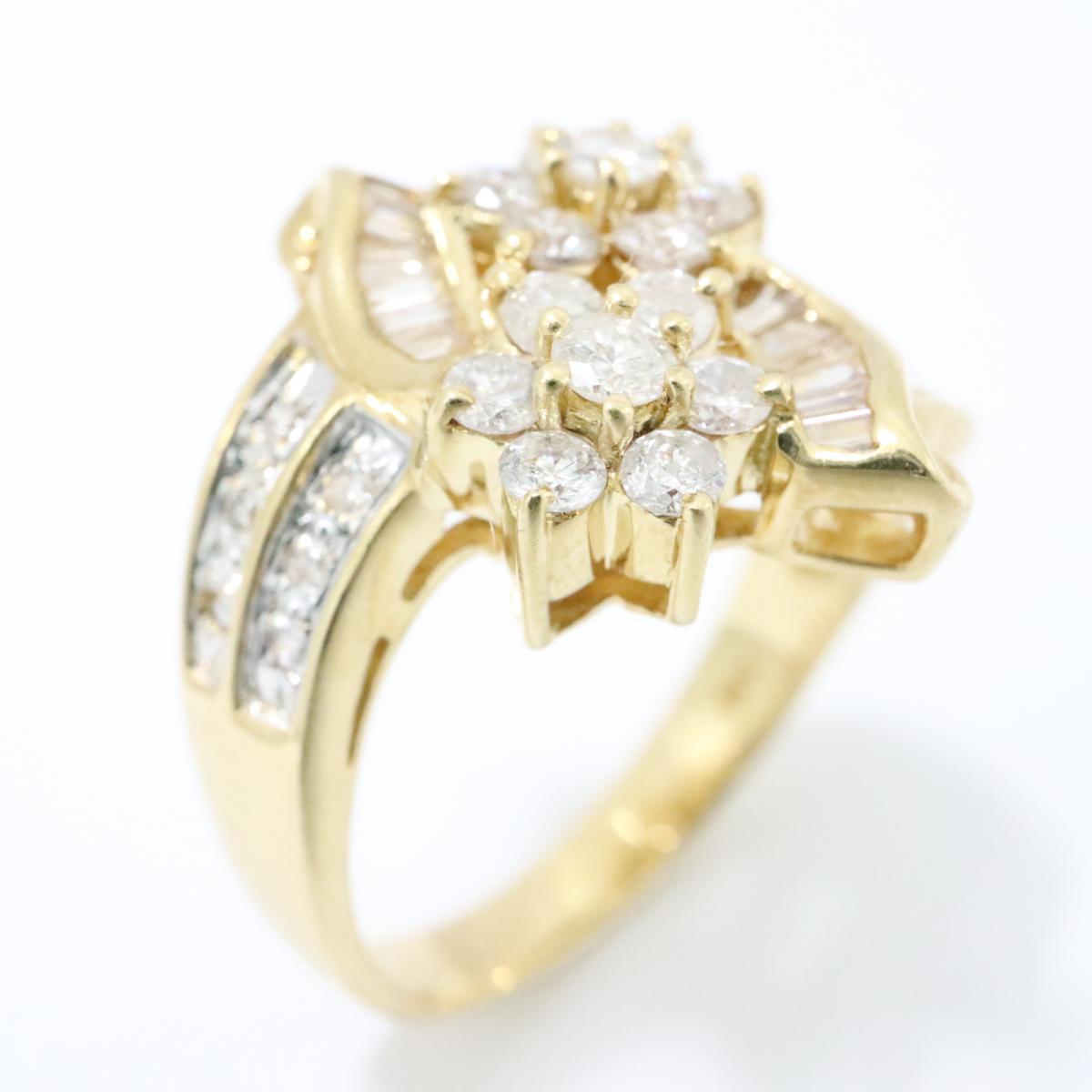 ジュエリー ダイヤモンド リング 指輪 ノーブランドジュエリー レディース K18YG (750) イエローゴールドx (0.95ct) クリアー x ゴールド 【中古】 | JEWELRY BRANDOFF ブランドオフ アクセサリー