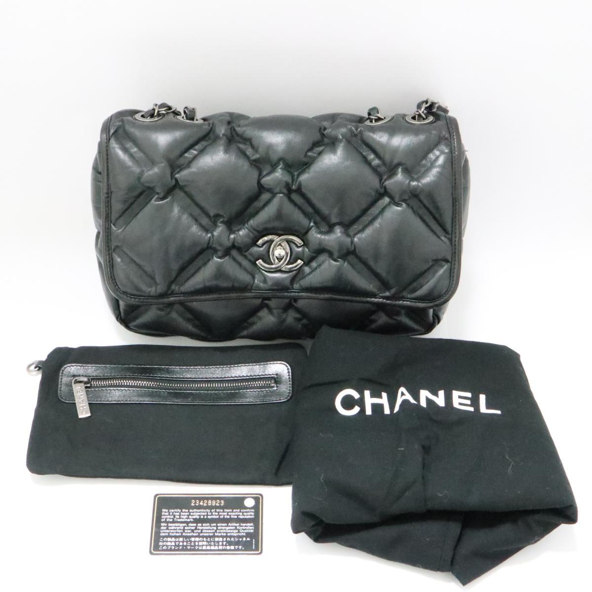 b0b4bbe78da71d ... Auth CHANEL Bubble Quilt Flap Shoulder Bag A93602 leather Black Used  Vintage | BRANDOFF Ginza/