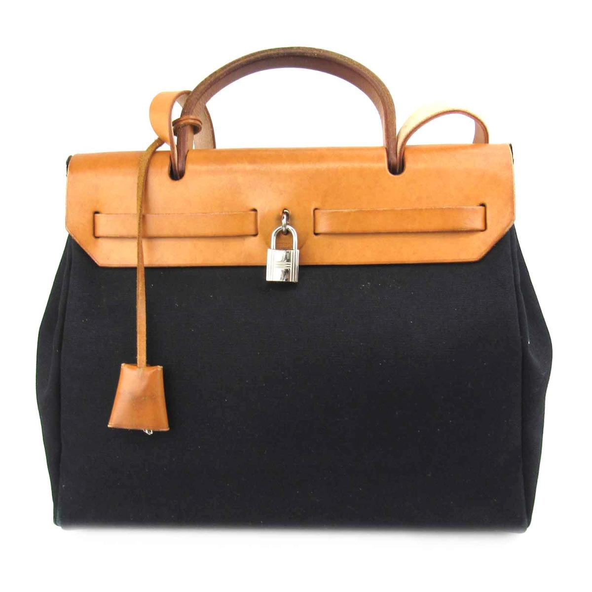 d94cdb804a620 ... Auth HERMES Herbag PM shoulder hand bag Toile H Barenia leather  Natural Black Used ...