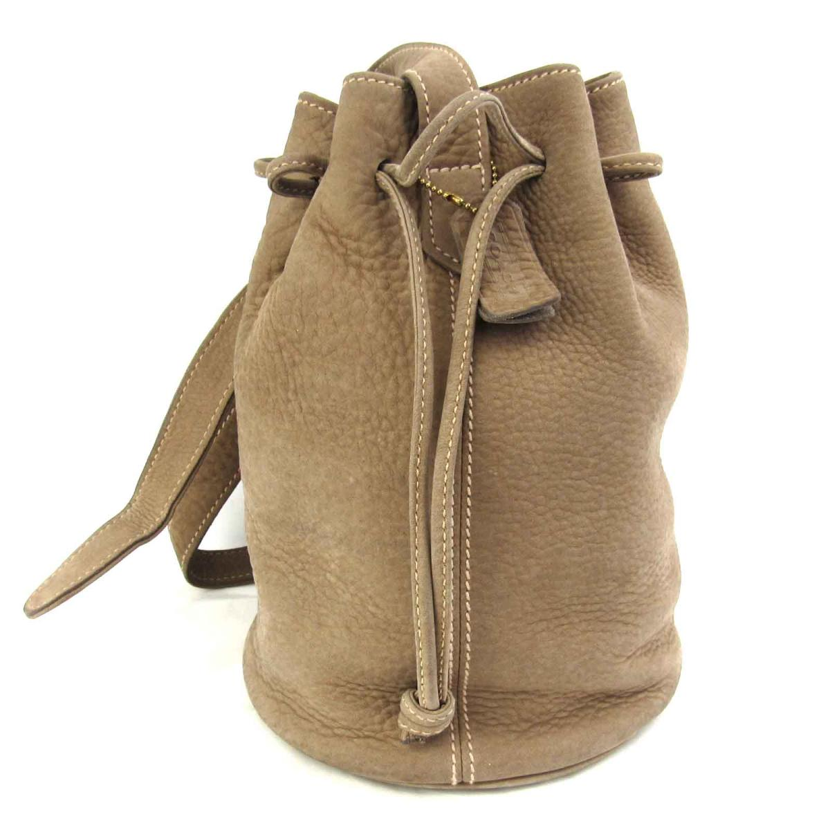 Coach Drawstring Purse Shoulder Bag Lady Leather Suede Beige 4931