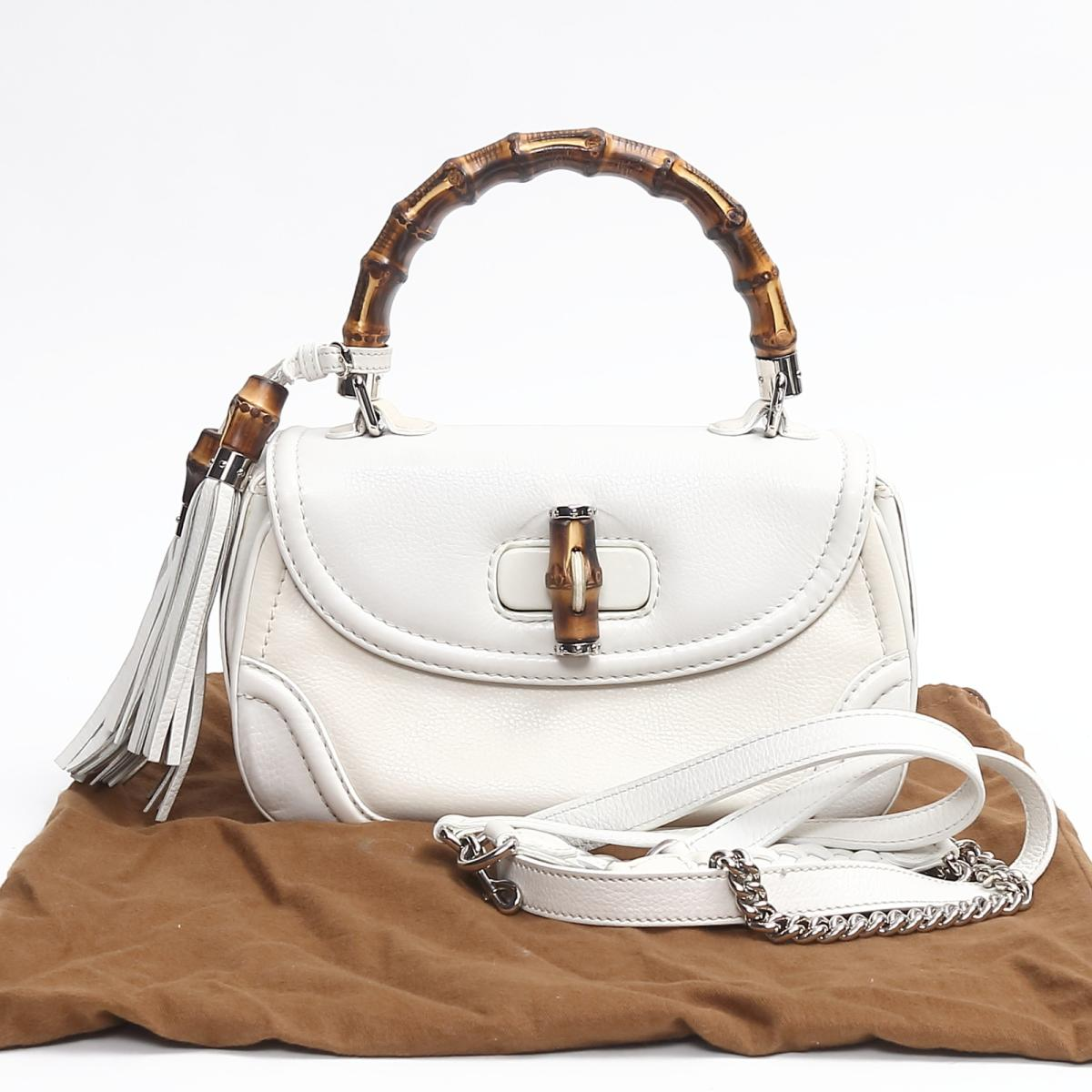 5cdb85cdd42 Auth GUCCI Bamboo 2way shoulder hand bag fringe 240242 leather White Used  Vintage