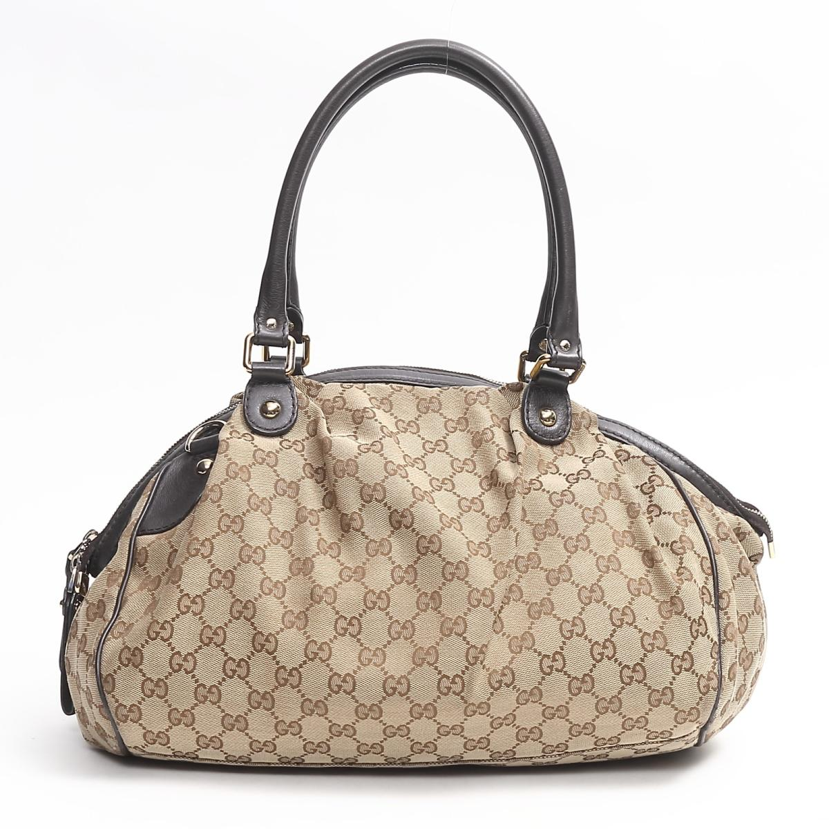 8b5966b1925eec ... Gucci Sioux key Boston shoulder bag bag lady GG canvas x leather brown  (362724) ...