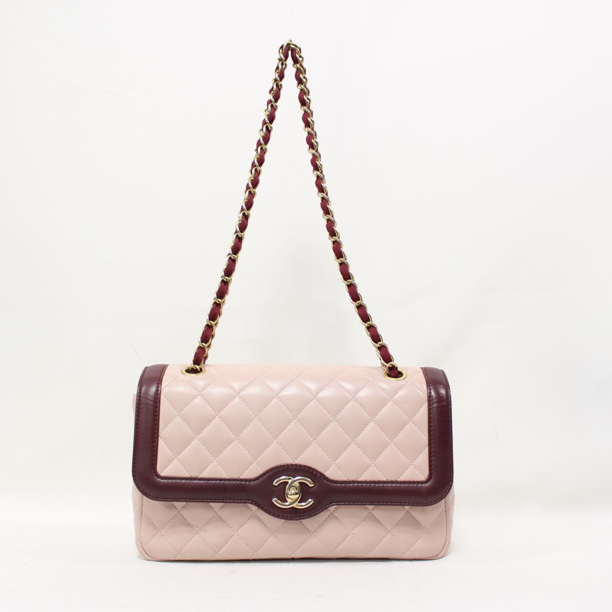 bf70c5af96bb84 BRANDOFF: Auth CHANEL Matelasse CC Chain Shoulder Bag Cowhide calf leather  Pink/Bordeaux Used | BRANDOFF Ginza/TOKYO/Japan | Rakuten Global Market