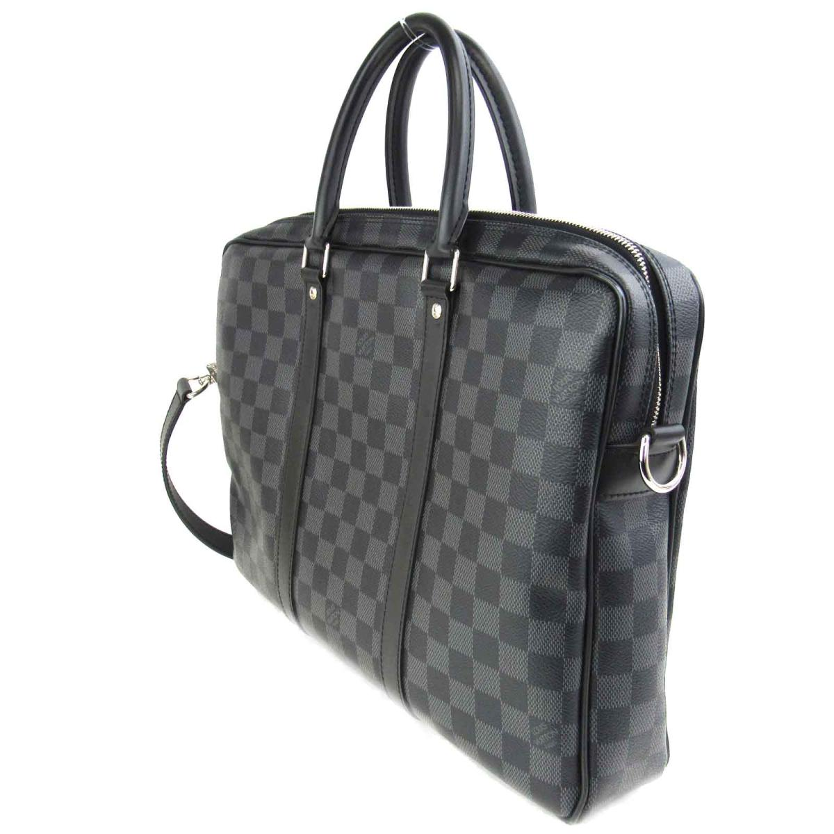 effcfdbc0be3 Auth LOUIS VUITTON PDV PM Porte documents Voyage hand bag N41478 Damier  Graphite Used