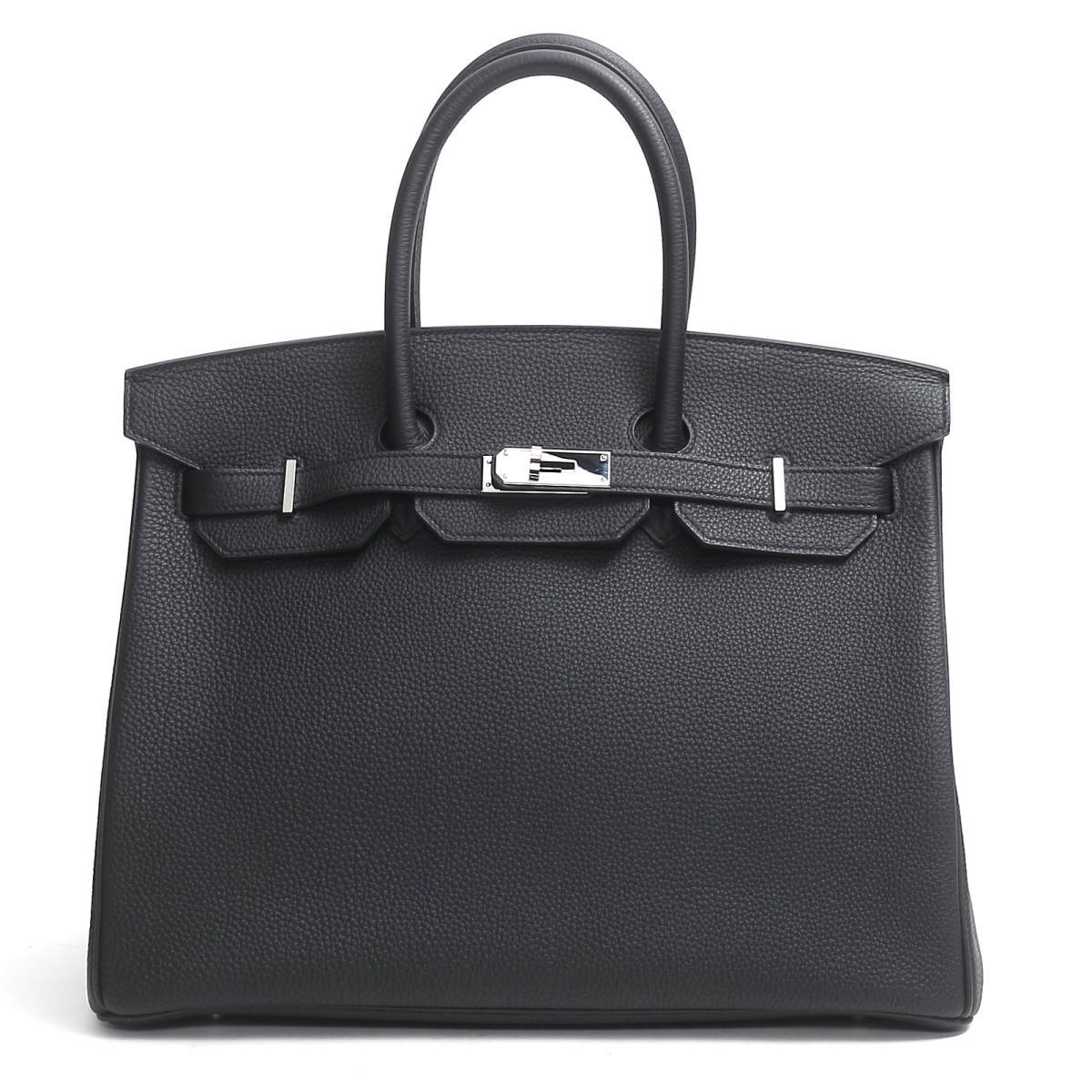 【中古】エルメス バーキン35 ハンドバッグ バッグ レディース トゴ ブラック(金具:シルバー)