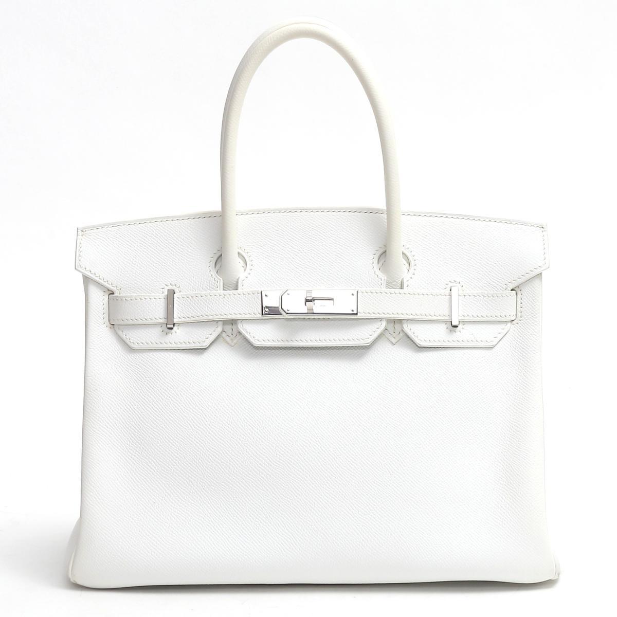 【中古】エルメス バーキン30 ハンドバッグ バッグ レディース ヴォーエプソン ホワイト(金具:シルバー)