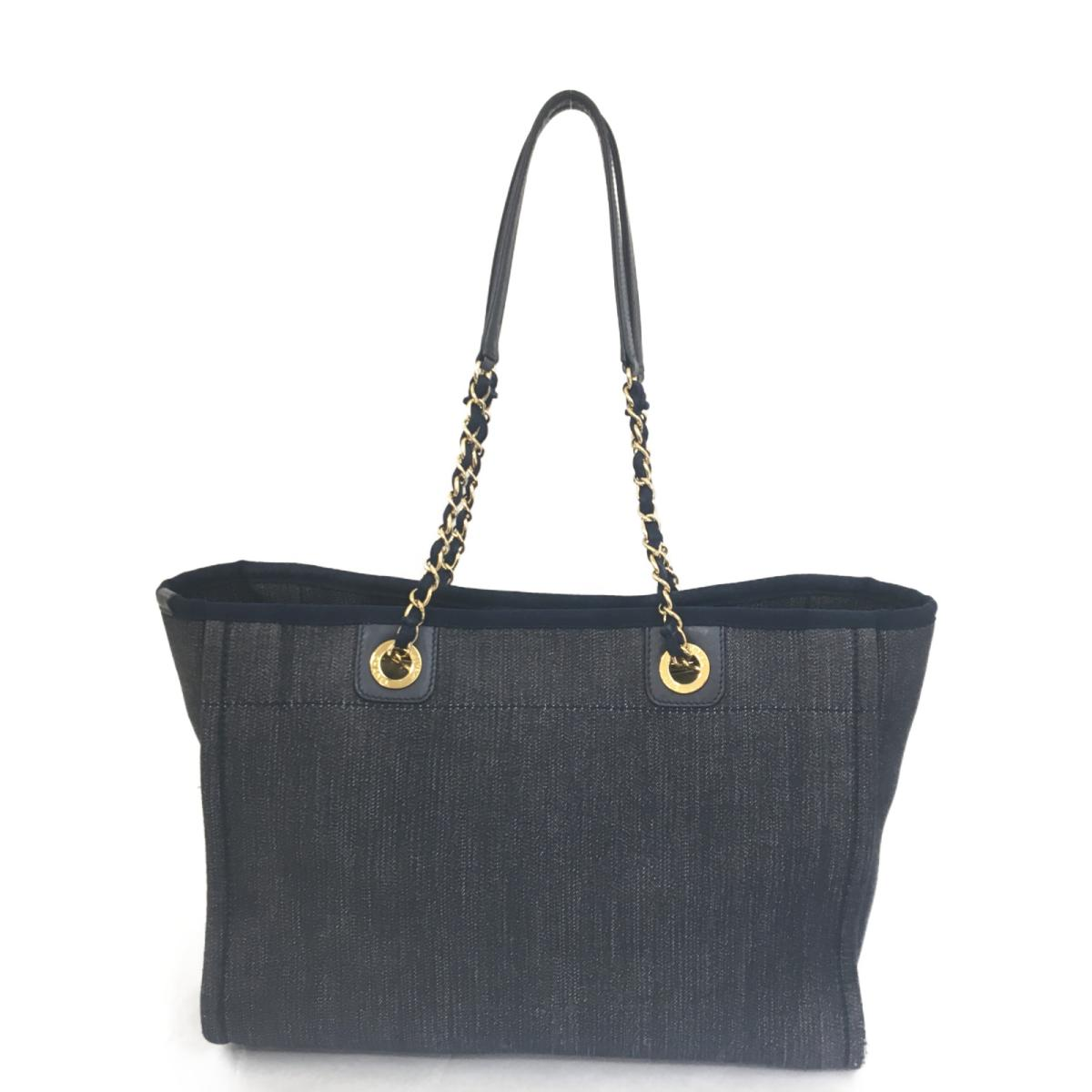 f598d023945522 ... Auth CHANEL Deauville PM Chain Tote Bag canvas Denim Blue Used Vintage  | BRANDOFF Ginza/ ...