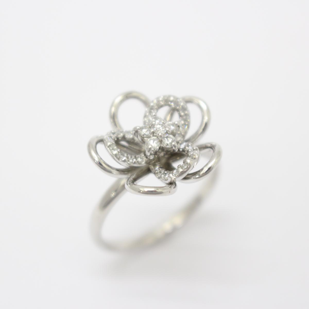 【中古】ジュエリー ダイヤモンド リング 指輪 ノーブランドジュエリー レディース K18WG(750) ホワイトゴールド