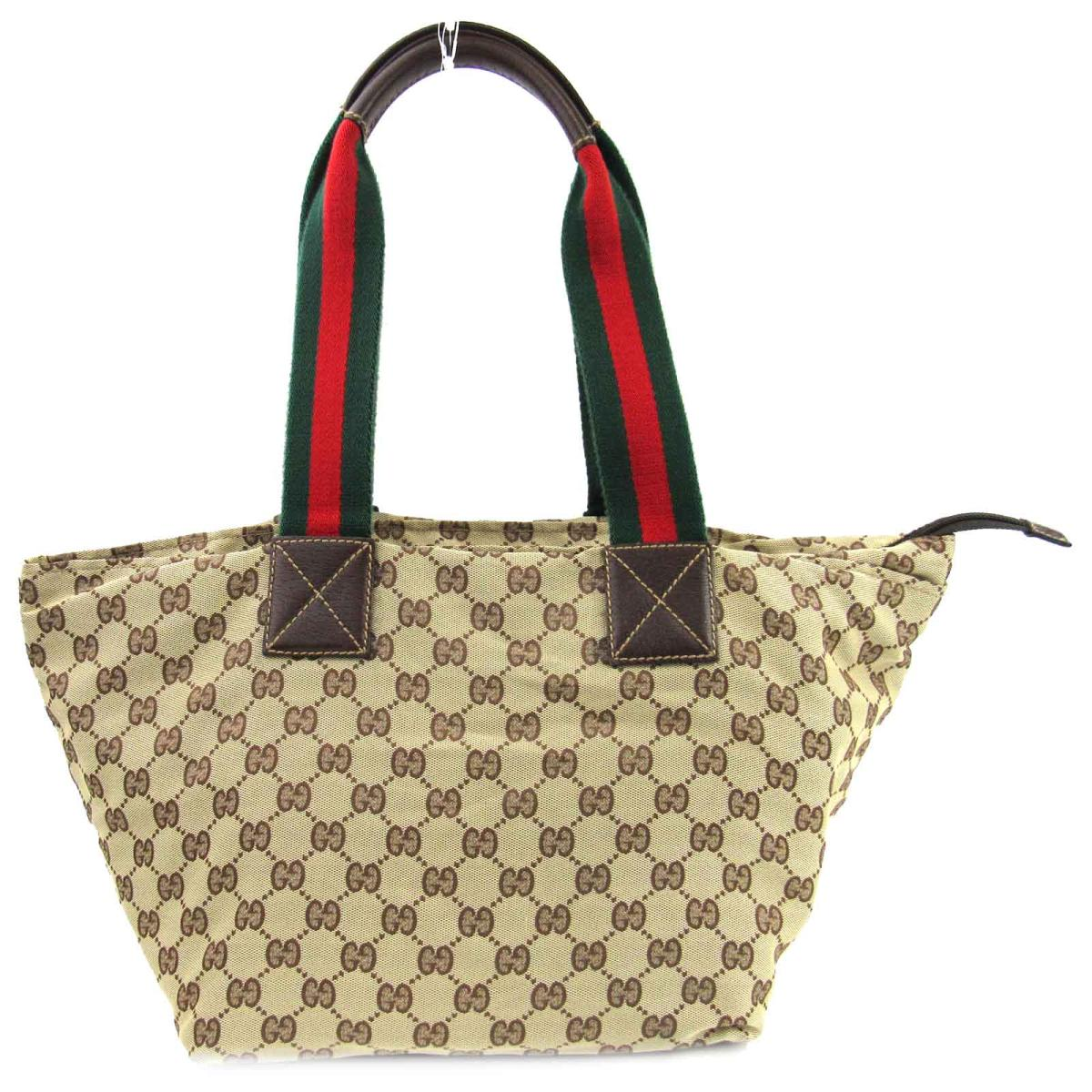 f2ce9a436090 Gucci GG canvas shoulder tote bag bag lady scan bus x leather beige x dark  brown (131230)