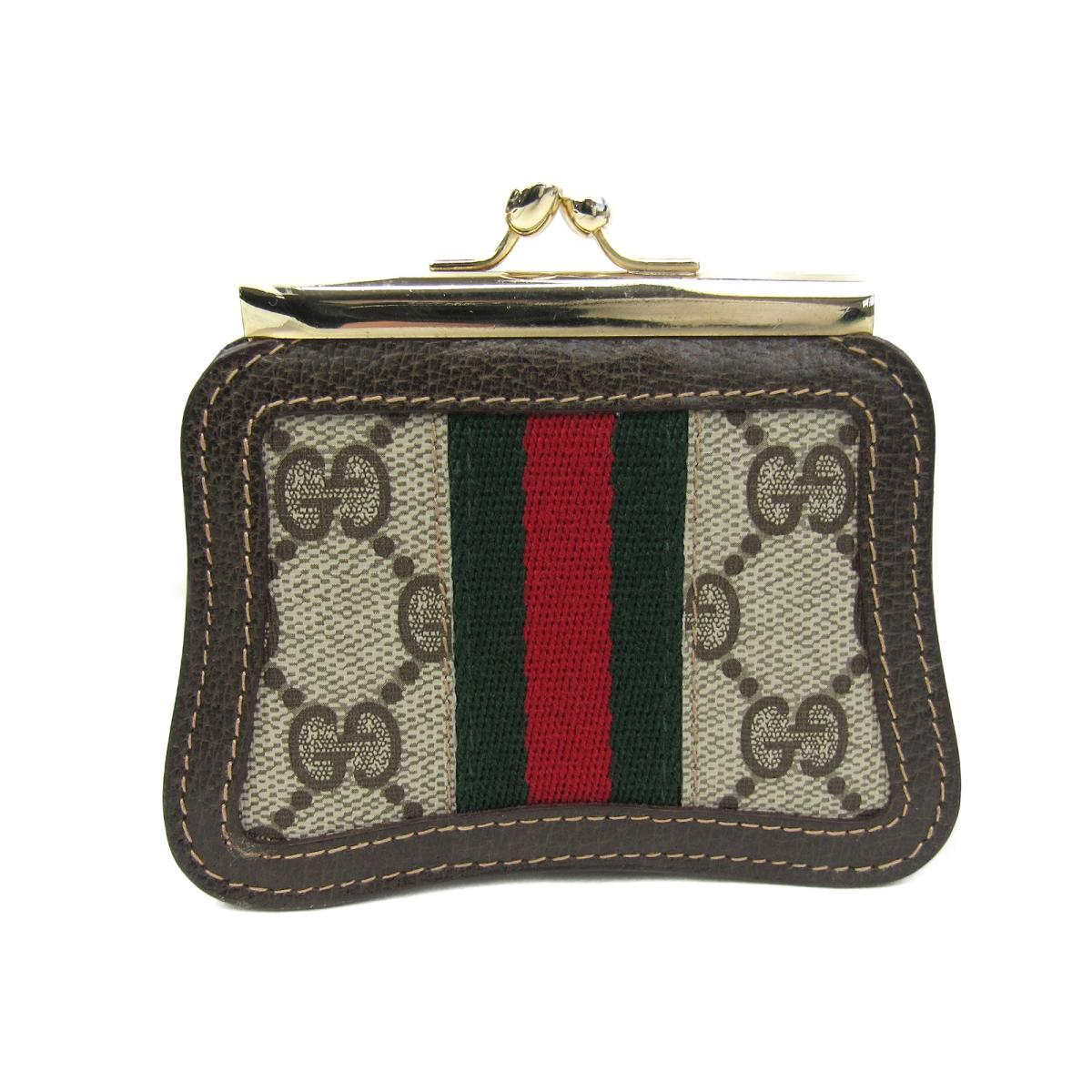 2111fb53c897 Gucci GG スプリーム pouch wallet wallet Lady's coating canvas (PVC) x leather  brown x beige x tricolor   GUCCI BRANDOFF brand off-brand brand wallet coin  ...
