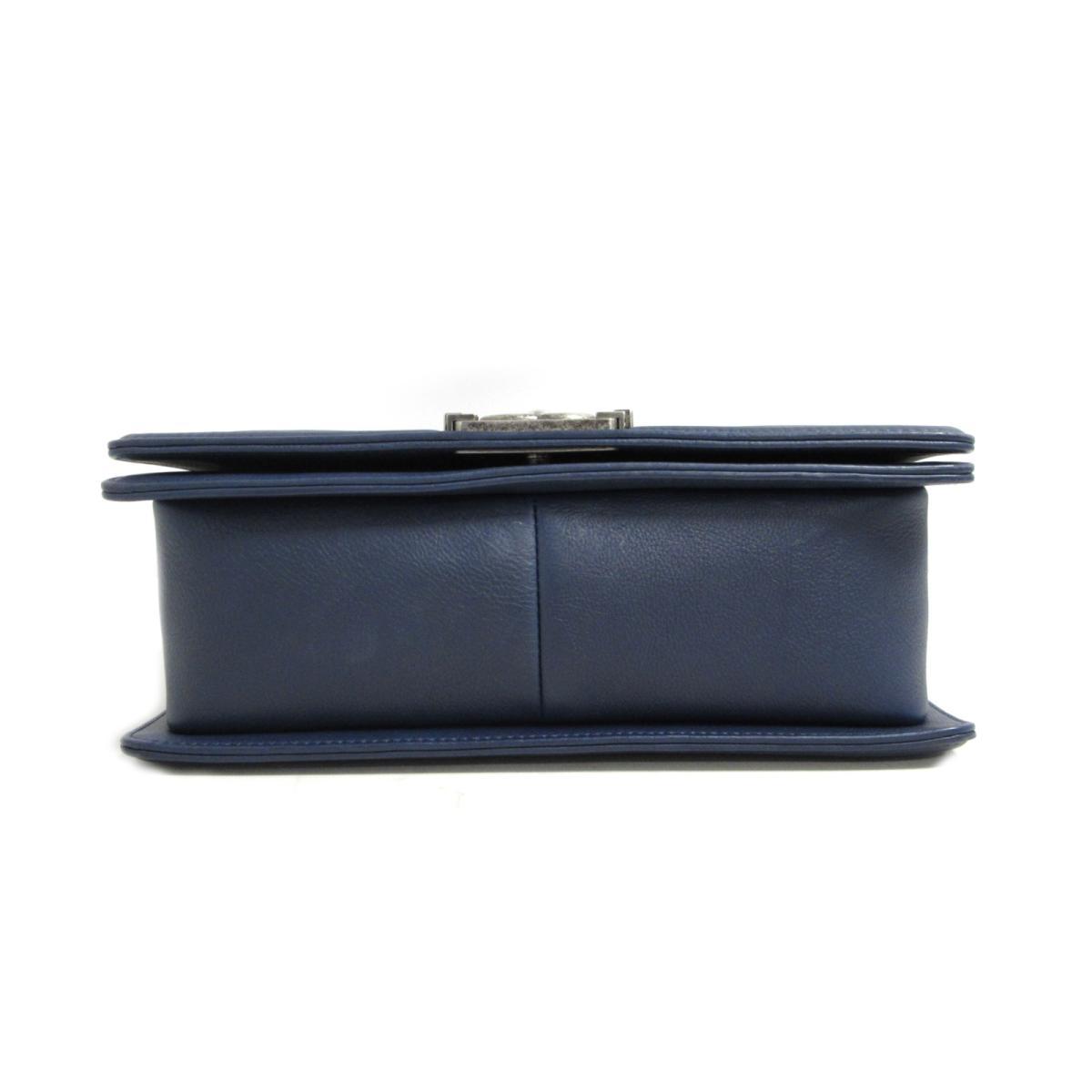 68d4d0d5ec36f6 BRANDOFF: Chanel boy Chanel chain shoulder bag bag lady leather navy ...