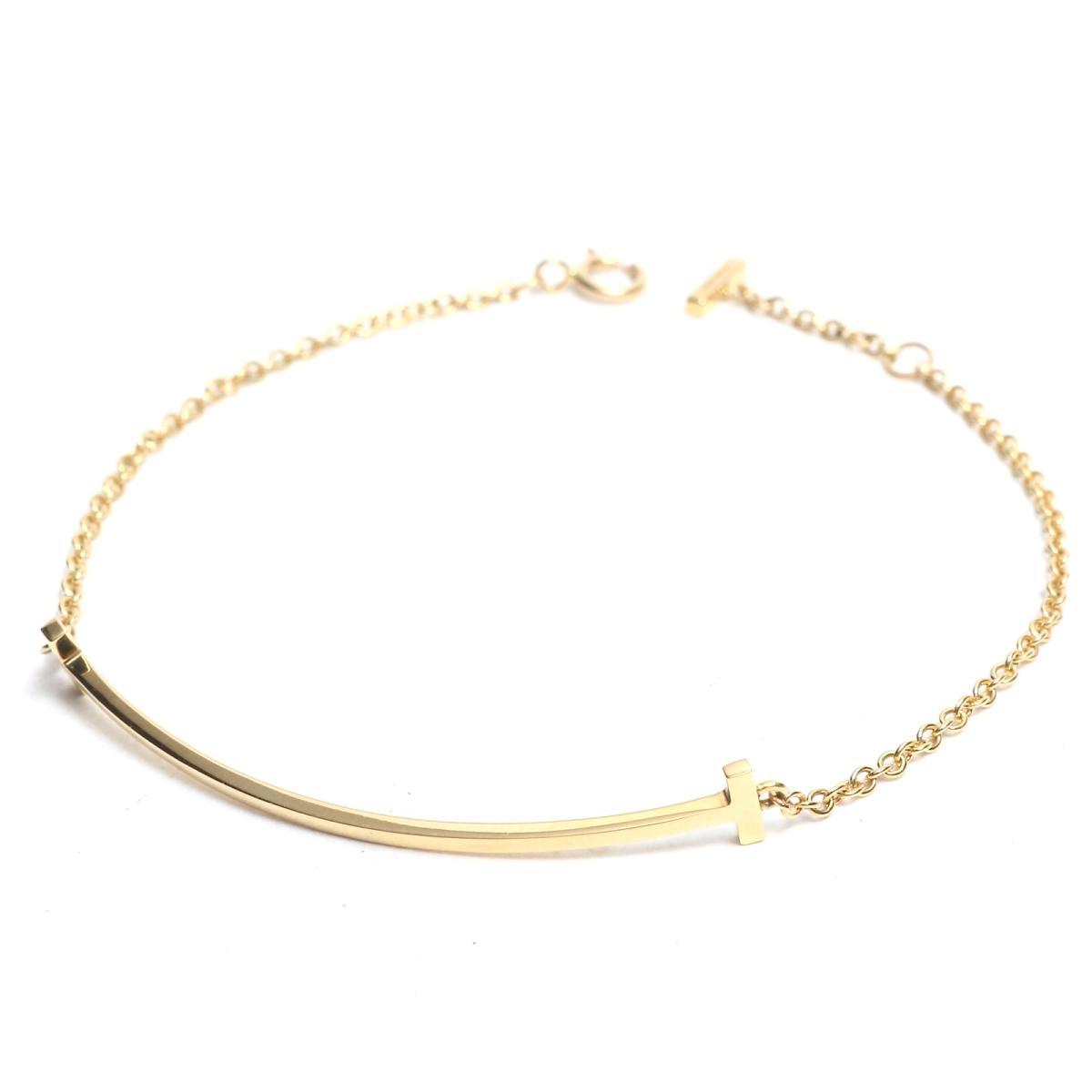 2b813ad5fb722 Tiffany T smile bracelet brand jewelry Lady's K18YG(750) yellow gold