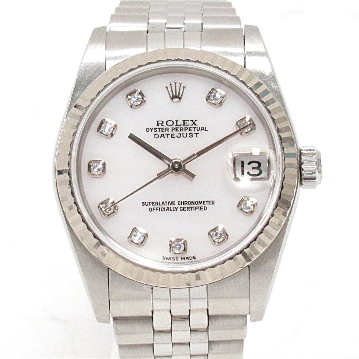 【中古】 ロレックス デイトジャスト 腕時計 ウォッチ 時計 レディース ステンレススチール (SS) xK18WG (750) ホワイトゴールドxダイヤモンド (10P) (78274)   ROLEX BRANDOFF ブランドオフ ブランド ブランド時計 ブランド腕時計