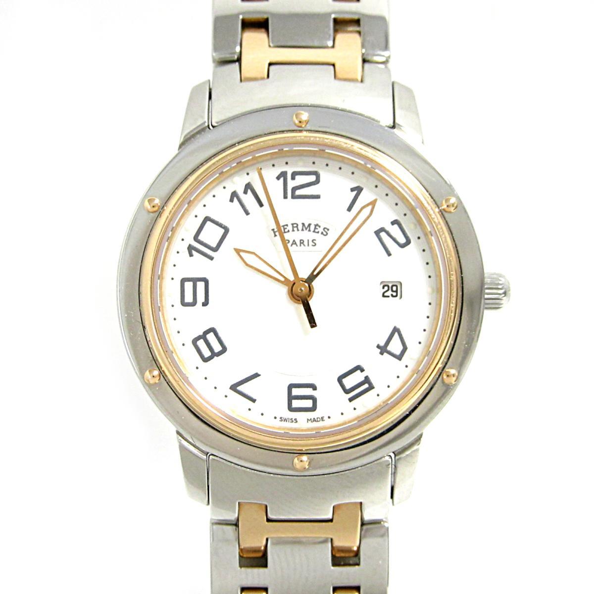 【中古】エルメス クリッパークラシック 腕時計 ウォッチ レディース 時計 レディース ステンレススチール(SS)×PGGP (CP1.321)