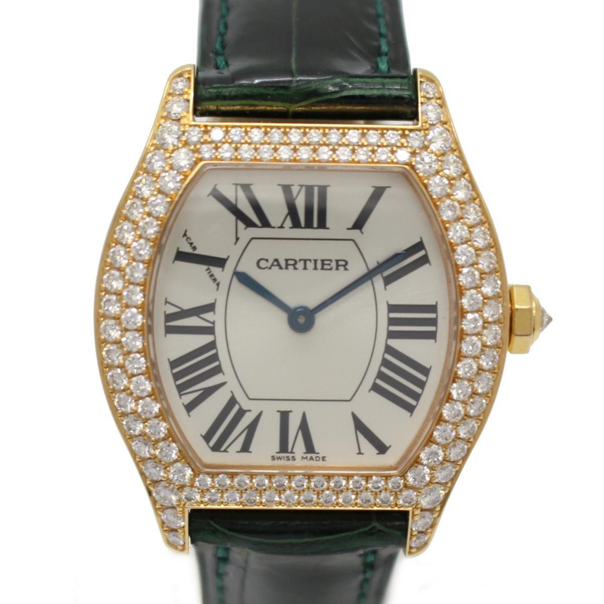 【中古】カルティエ トーチュSM レディースウォッチ 腕時計 時計 レディース K18YG(750)イエローゴールド×ダイヤモンド×レザーベルト (WA505031)
